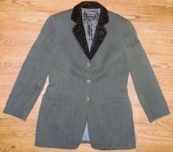 Giorgio Armani Vestimenta Spa Womens Blazer Gray Pinstripe Silk/Wool Ble... - $41.57