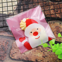 100 Pcs Christmas Self-adhesive Plastic Candy/Cookie/Biscuit Gift Bag - €5,66 EUR