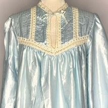 Vintage Satin Crochet Lace Nightgown L Blue Housedress Tie Neck Long Sle... - $79.15