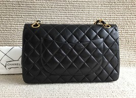 100% Authentic Chanel Vintage Black Lambskin Medium Classic Double Flap Bag GHW image 2