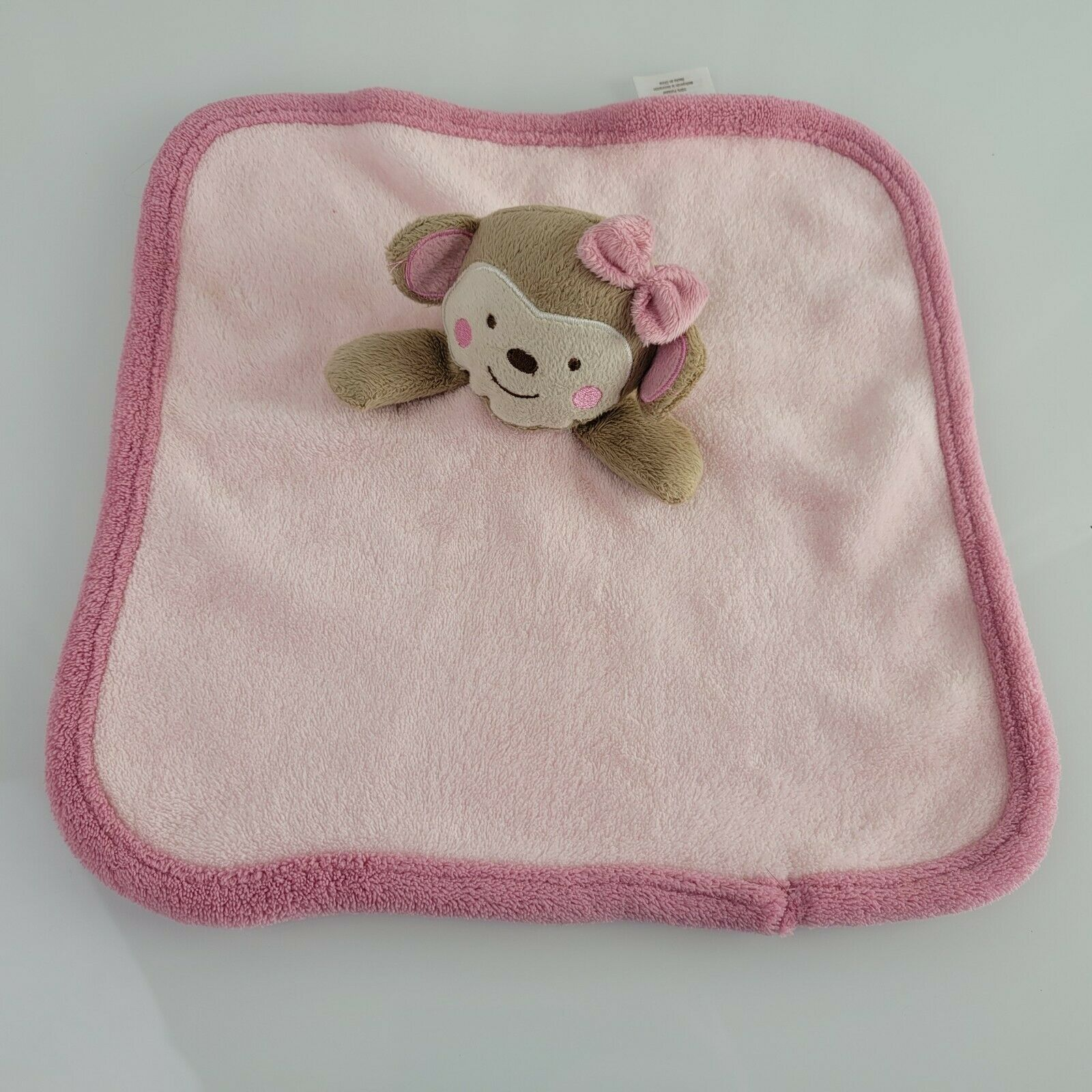 "Koala Baby Pink Tan Monkey Soft Security Blanket Lovey 13"" x 13"" 2013 - $29.69"