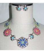JOAN RIVERS Gold Tone Multi-Color Rhinestone Flower Choker Necklace Earr... - $94.05