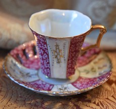 VINTAGE JAPAN DEMI TEA CUP SAUCER PIERCED RIM GOLD GILT RED GOLD LUSTRE ... - $29.99