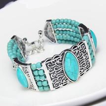Fashion Vintage Bohemian Boho Ethnic Tibetan Silver Bracelet Red Stone Beads Ban - $10.71