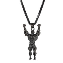 U7 Necklace Muscle Men Stainless Steel Pendant & Chain Gold/Black Color ... - $20.10