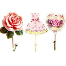 Evoio 3PCS Wall Hooks Rose Flower/Heart/Dress Resin Wall Mounted Vintage Hook Ha image 3
