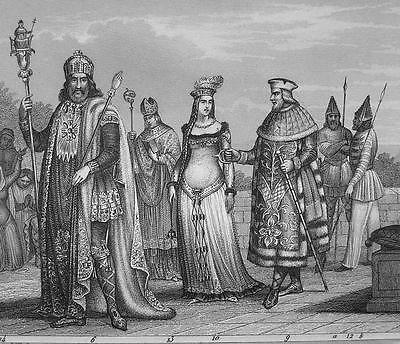 FRANKISH TRIBES Normans Queens Kings Costume - 1844 Antique Print Engraving