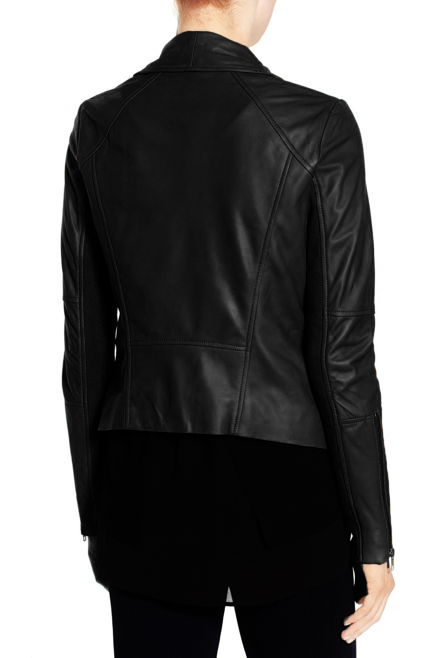 Women Black Wide Collar Leather Jacket,Fashion  Women Leather Jacket