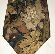 Necktie 417 Van Heusen Men's EUC Neck Tie Silk Brown on Gray Leaf Nature r1 - $10.00