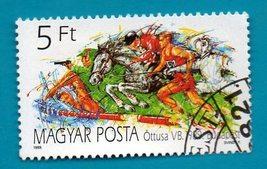 Used Hungary Postage Stamp (Scott 1394) 5ft Modern Pentathion 1989 - $1.99