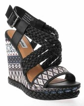 Not Rated Monaco Tribal Native American Print Braided Wedge Open Toed Sandal 8.5 image 2