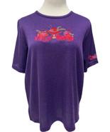 Bonworth Women's Short Sleeve Red Ha/purse Purple Blouse Top Size Medium - $19.80