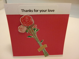 Red blank handmade romance greeting card,Thanks for your love - $3.25