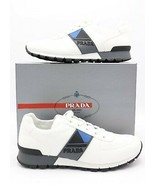 NIB Prada Mens White Match Race Side Stripe Low-Top Trainers Sneakers 13 46 - $345.01