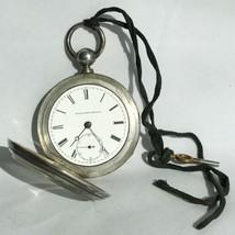 Vintage Estate Elgin Key Wind H H Taylor 1873 900 Silver Pocket Watch L242 - $295.48