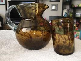 Lot 2 Leopard Safari Print Hand-blown Glass Pitcher & Tumbler Clear Hand... - $25.00