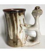 STAN DZEDZY Mug Lizard Dinosaur 12oz Handmade Pottery Stoneware - $49.49