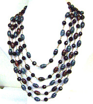 Art Deco Murano Black Blue Gold Aventurine Feather Bead Bib Necklace - $67.00