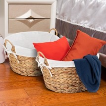 Set of 2 Large Seagrass Laundry Storage Basket - £77.48 GBP