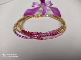 Tulsi bracelet, tulsi pink bracelet, holy basil bracelet, myiuki beads b... - $17.00