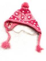 Dog Hat Size M/L Pet Puppy Clothing Pink Knit Tassels Hearts Ball Top - $8.33