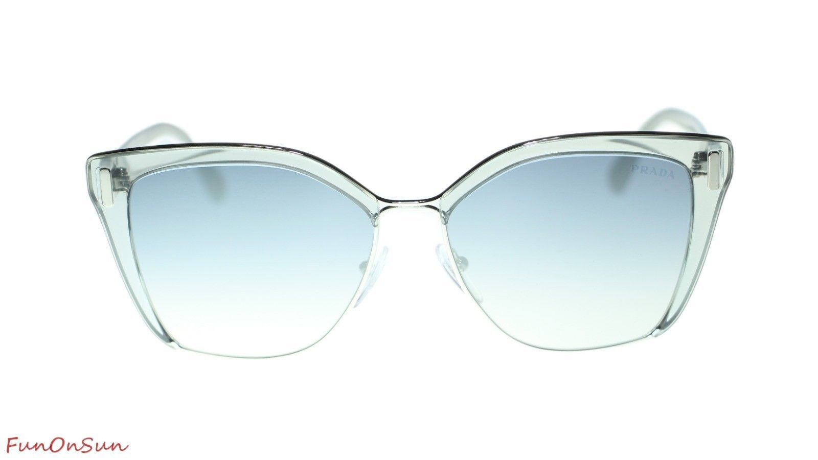 Prada Sunglasses PR56TS 73E5R0 Grey Silver/Light Blue Mirror Silver Lens 57mm