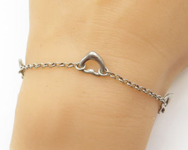 925 Sterling Silver - Delicate Petite Rolo Link Love Heart Bracelet - B1520 - $17.67