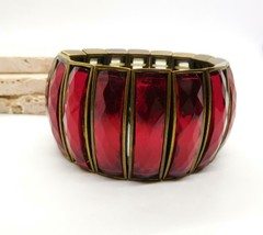 Retro Vintage Red Glass Panel Antiqued Gold Wide Stretch Bangle Bracelet... - $25.73