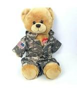 Build A Bear Military Army Stuffed Plush Teddy Camo Outfit Red Heart Stu... - $28.70