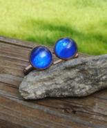 Vintage Round Blue Glass Cabochon Cufflinks - $33.00