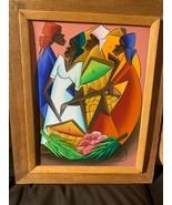 HAITIAN ART ORIGINAL PAINTING CANVAS SIGNED ARTIST FRAMED 20.5 x 16.5 #A178 - $138.59