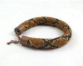 Bead crochet rope bracelet with snake skin print, beaded seed beads brac... - $30.00+