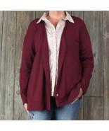 J Jill Wearever Cardigan Blouse L size Burgundy Stretch Vneck Work Casua... - $26.72