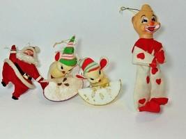 Vintage Christmas Ornaments Japan Mouse Eating apple slice x 2 Santa & C... - $21.73