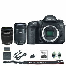 Canon EOS 7D Mark II DSLR Camera Body + 18-135mm + 55-250mm STM Lens - $1,574.81