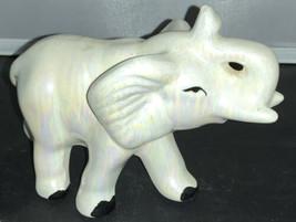 """Shiny 5""""x7"""" White Iridescent Ceramic Elephant Trunk Up - $4.46"""