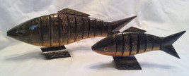 2 Vintage Articulated Wooden Fish Sculptures - $35.00