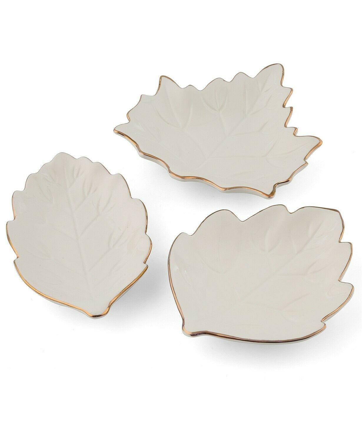 Thirstystone Set of 3 Leaf Shaped Harvest Gold Rim Ceramic Appetizer Plates NEW