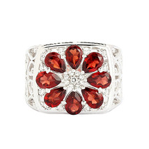 925 Sterling Silver Garnet With Cubic Zirconia Cocktail Tear Drop Ring S... - $25.23