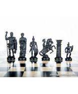 Roman plastic chess pieces / chessmen - cream / black - $22.09