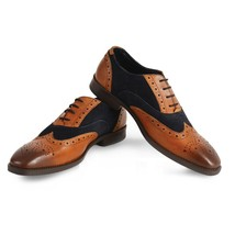 Handmade Men's Brown Leather Black Suede Wing Tip Brogues Oxford Dress Shoes image 4