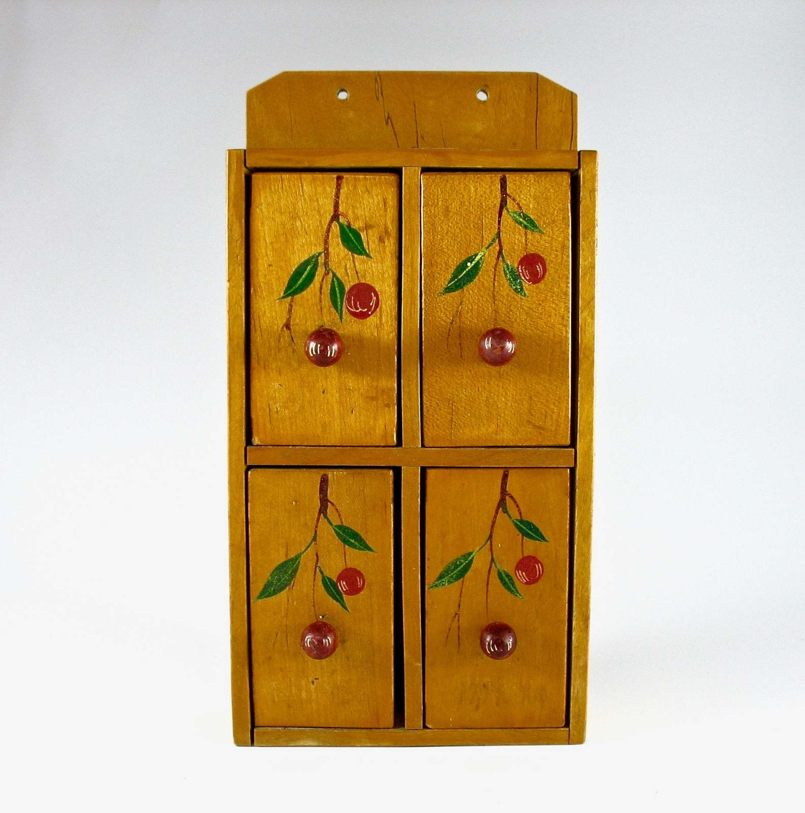 Primary image for Wooden Spice Cabinet, Spice Box, Mid-Century, Japan, Hand-Painted, Red Cherries,
