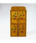 Wooden Spice Cabinet, Spice Box, Mid-Century, Japan, Hand-Painted, Red C... - $62.00
