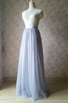 SILVER GRAY Long Tulle Skirt Bridesmaid Long Tulle Skirt Silver Evening Skirt