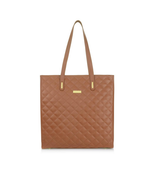 JOY IMAN Diamond Quilted Genuine Leather Tote Bag with RFID Protection - $49.45