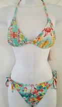 Candies Swim Bikini 2 Pcs Set Padded Halter Top Side Ties Bottom Floral Green Jr - $19.99
