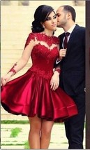 High Neck Long Sleeve Short Burgundy Lace Satin Party Gowns Prom Dresses... - $124.14
