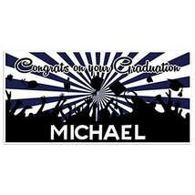 Navy And White Graduation Banner Personalized Class of 2018 Party Backdrop - £16.88 GBP