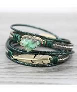 STRATHSPEY Green Leather Bracelets for Women Multilayer Druzy Bracelet V... - $14.99