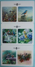 Coasters (6) Bird Flowers Double Sided squares New cardboard - $3.99